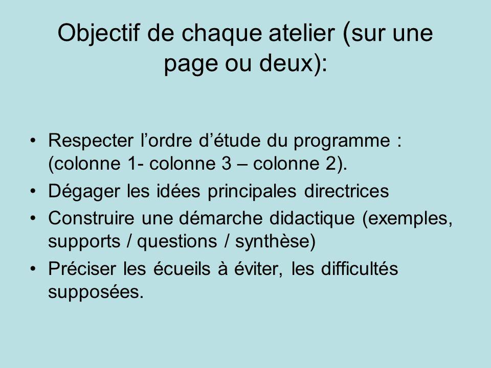 Objectif de chaque atelier ( sur une page ou deux): Respecter lordre détude du programme : (colonne 1- colonne 3 – colonne 2). Dégager les idées princ