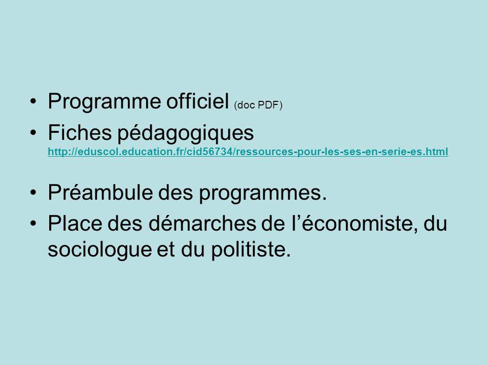 Programme officiel (doc PDF) Fiches pédagogiques http://eduscol.education.fr/cid56734/ressources-pour-les-ses-en-serie-es.html http://eduscol.education.fr/cid56734/ressources-pour-les-ses-en-serie-es.html Préambule des programmes.