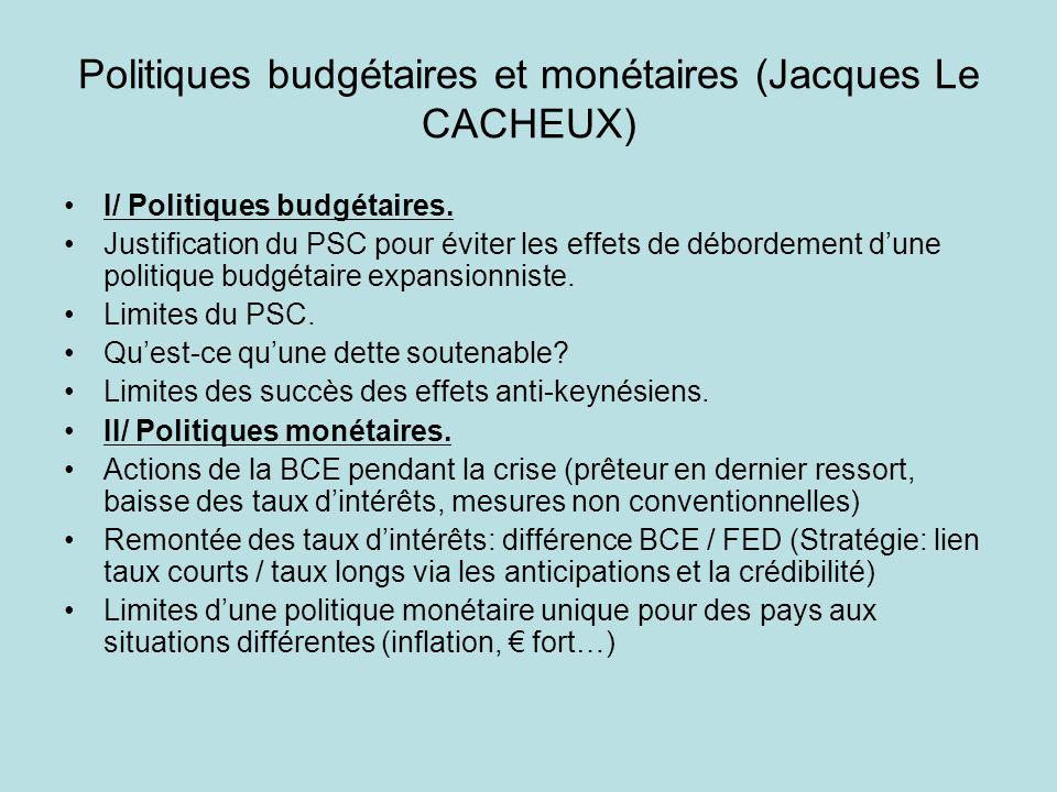 Politiques budgétaires et monétaires (Jacques Le CACHEUX) I/ Politiques budgétaires. Justification du PSC pour éviter les effets de débordement dune p