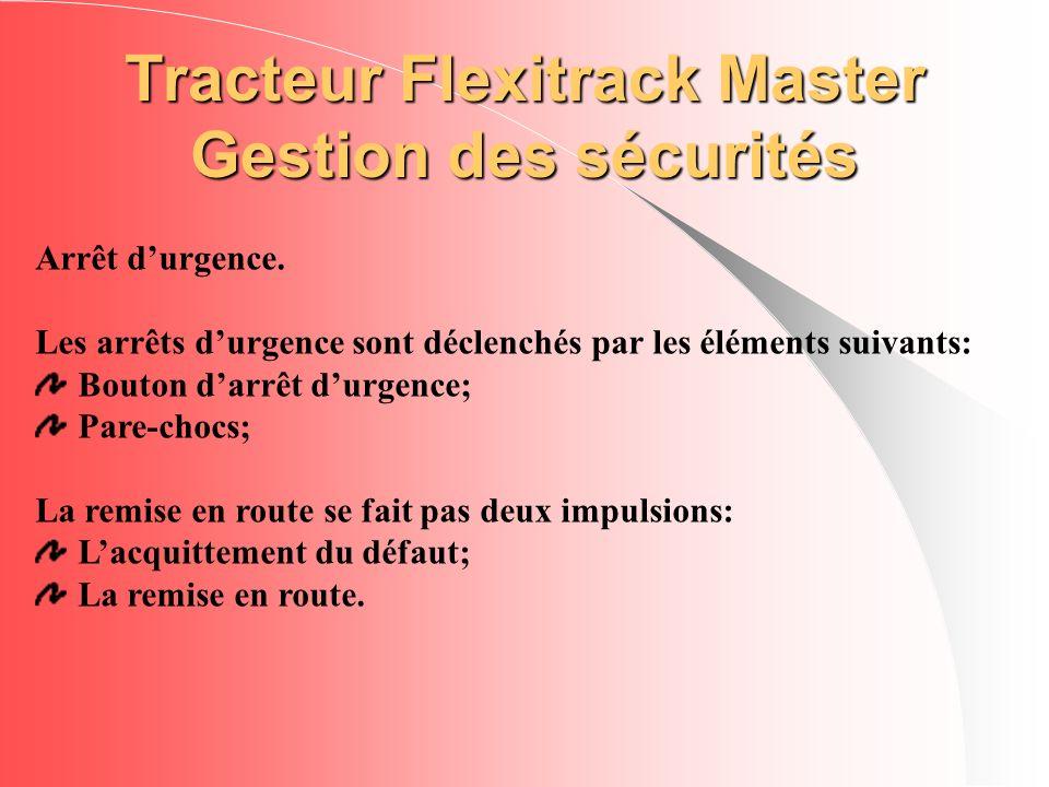 Tracteur Flexitrack Master Gestion des sécurités Arrêt durgence. Les arrêts durgence sont déclenchés par les éléments suivants: Bouton darrêt durgence