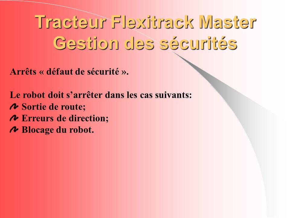Tracteur Flexitrack Master Gestion des sécurités Arrêts « défaut de sécurité ». Le robot doit sarrêter dans les cas suivants: Sortie de route; Erreurs