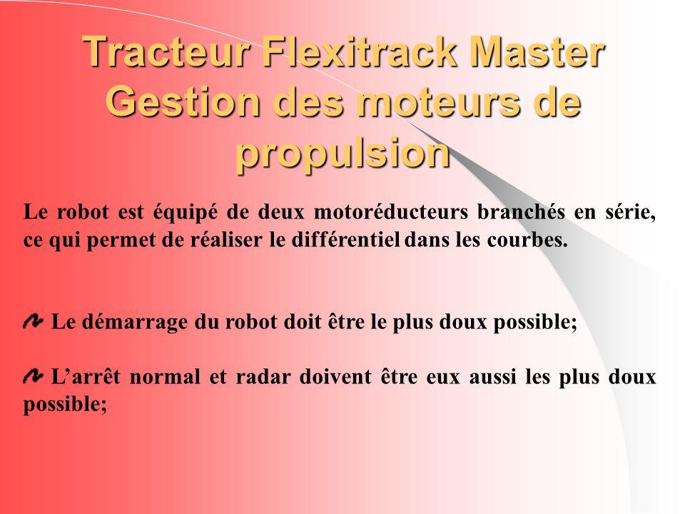 Tracteur Flexitrack Master Gestion des moteurs de propulsion Le robot est équipé de deux motoréducteurs branchés en série, ce qui permet de réaliser l