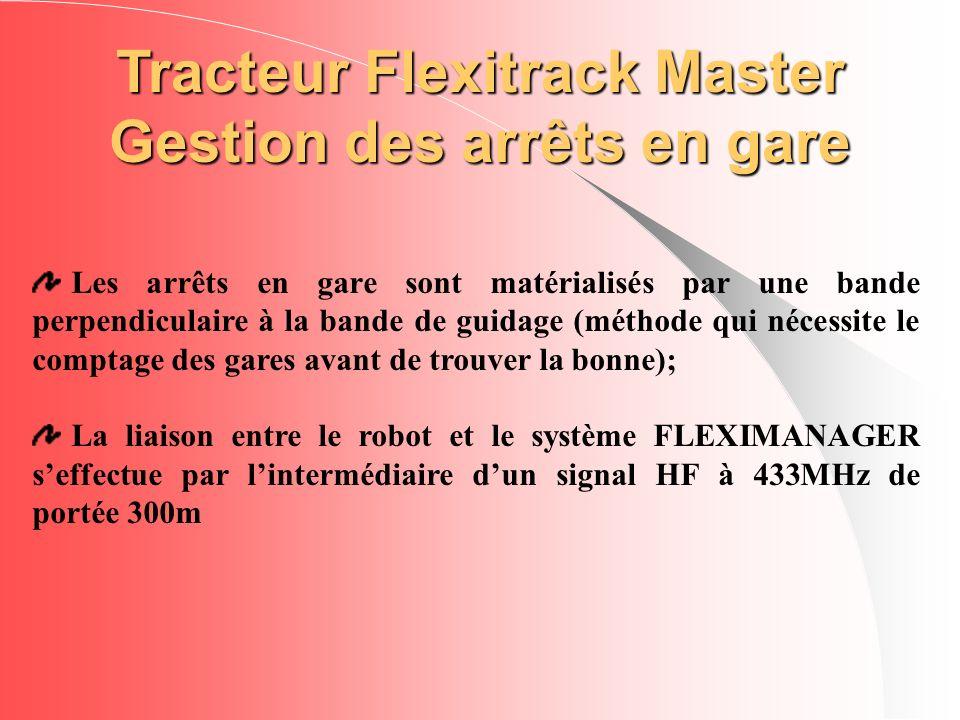 Tracteur Flexitrack Master Gestion des arrêts en gare Les arrêts en gare sont matérialisés par une bande perpendiculaire à la bande de guidage (méthod
