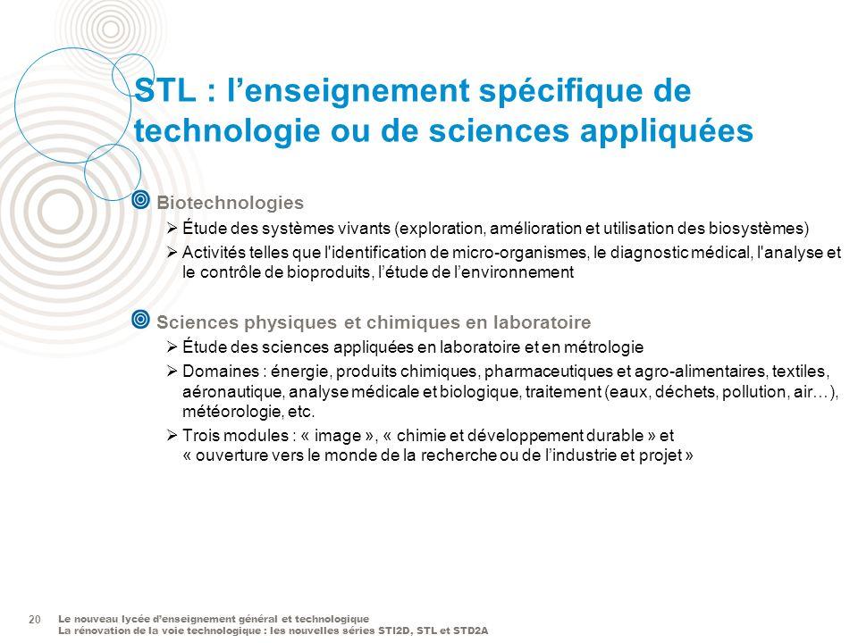 Le nouveau lycée denseignement général et technologique La rénovation de la voie technologique : les nouvelles séries STI2D, STL et STD2A 20 STL : len