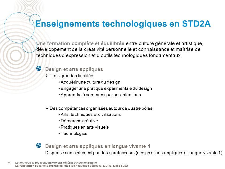 Le nouveau lycée denseignement général et technologique La rénovation de la voie technologique : les nouvelles séries STI2D, STL et STD2A 21 Enseignem
