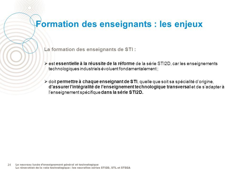 Le nouveau lycée denseignement général et technologique La rénovation de la voie technologique : les nouvelles séries STI2D, STL et STD2A 24 Formation