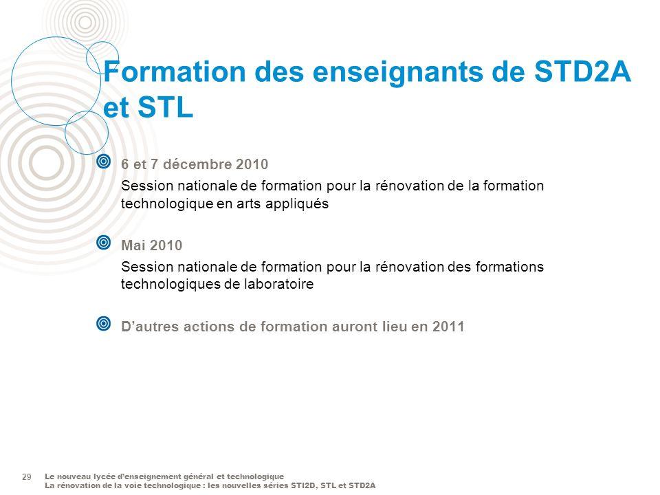 Le nouveau lycée denseignement général et technologique La rénovation de la voie technologique : les nouvelles séries STI2D, STL et STD2A 29 Formation