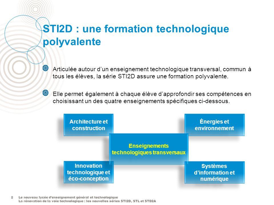 Le nouveau lycée denseignement général et technologique La rénovation de la voie technologique : les nouvelles séries STI2D, STL et STD2A 8 STI2D : un