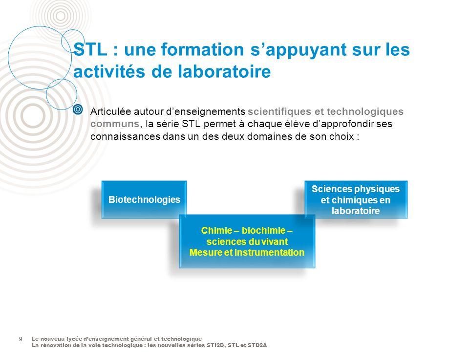Le nouveau lycée denseignement général et technologique La rénovation de la voie technologique : les nouvelles séries STI2D, STL et STD2A 9 STL : une