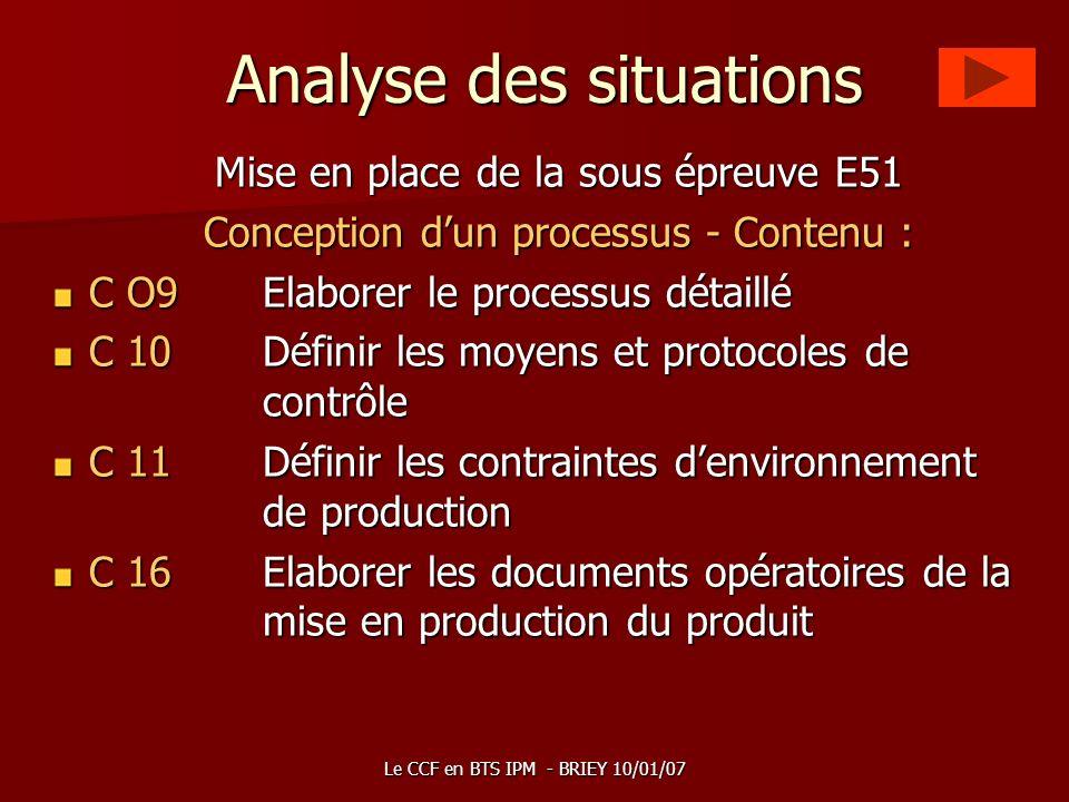 Le CCF en BTS IPM - BRIEY 10/01/07 Analyse des situations Mise en place de la sous épreuve E51 Conception dun processus - Contexte professionnel Fonction : Technicien méthodes en Qualification et Optimisation des Processus.