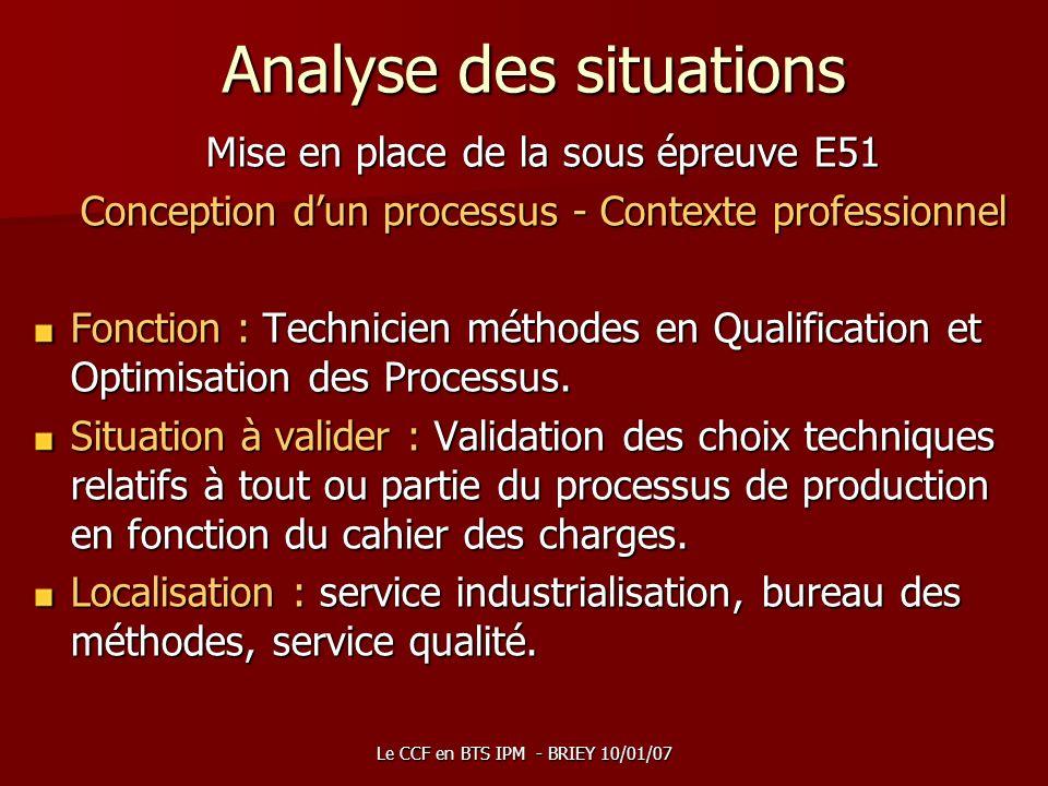 Le CCF en BTS IPM - BRIEY 10/01/07 Analyse des situations Mise en place de la sous épreuve E51 Conception dun processus - Contexte professionnel Fonct