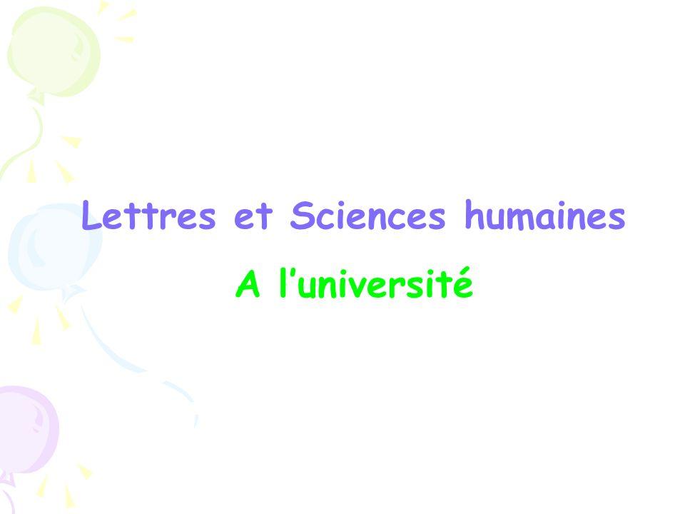 Lettres et Sciences humaines A luniversité