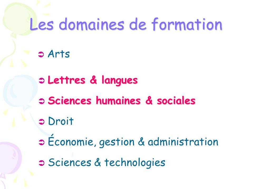 Les domaines de formation Arts Sciences humaines & sociales Sciences humaines & sociales Droit Économie, gestion & administration Sciences & technolog
