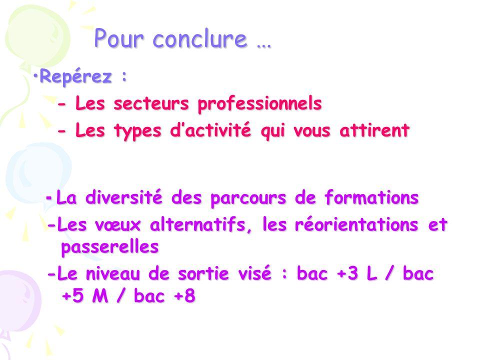 Pour conclure … - La diversité des parcours de formations -Les vœux alternatifs, les réorientations et passerelles -Le niveau de sortie visé : bac +3
