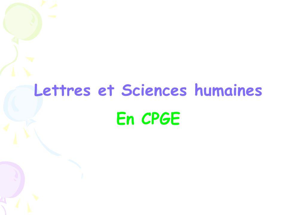 Lettres et Sciences humaines En CPGE