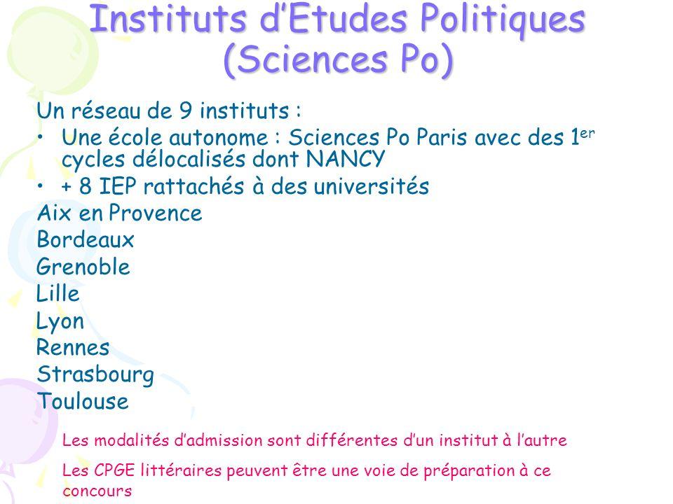 Instituts dEtudes Politiques (Sciences Po) Un réseau de 9 instituts : Une école autonome : Sciences Po Paris avec des 1 er cycles délocalisés dont NAN