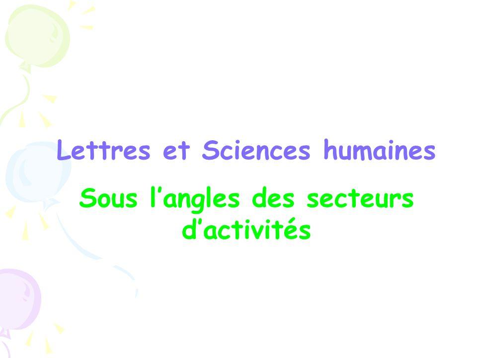 Lettres et Sciences humaines Sous langles des secteurs dactivités