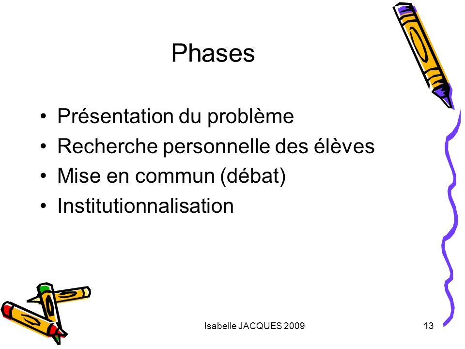 Isabelle JACQUES 200913 Phases Présentation du problème Recherche personnelle des élèves Mise en commun (débat) Institutionnalisation