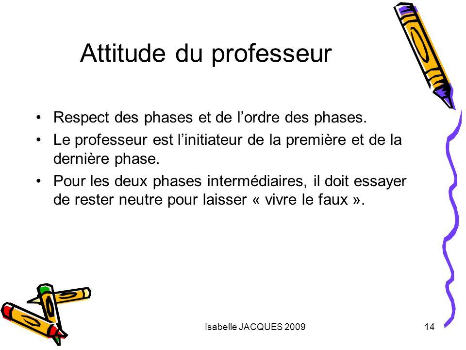 Isabelle JACQUES 200914 Attitude du professeur Respect des phases et de lordre des phases. Le professeur est linitiateur de la première et de la derni