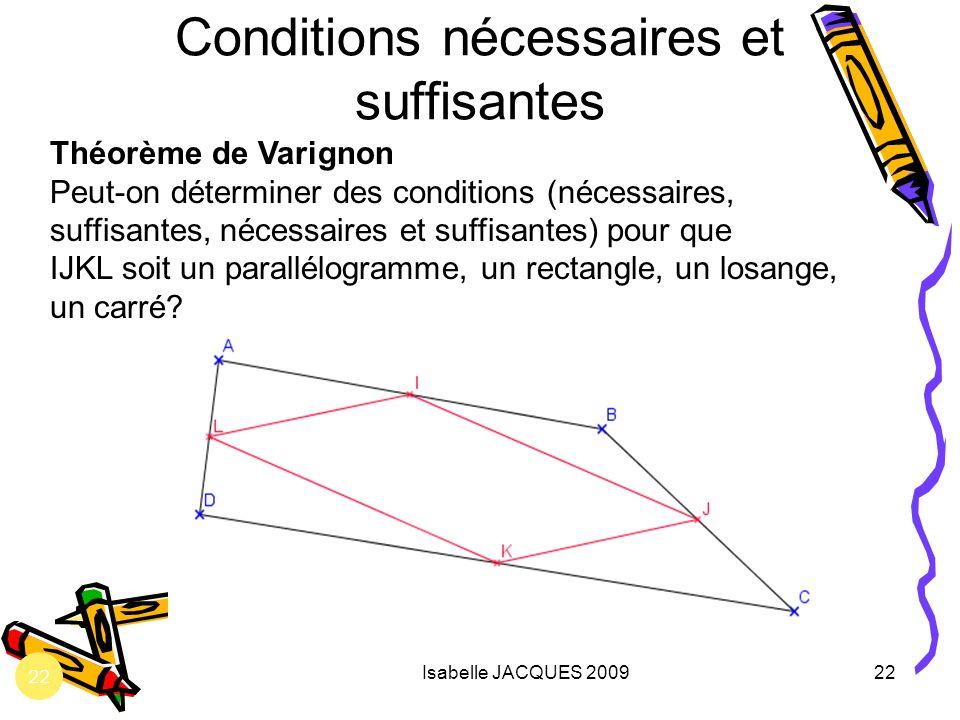 Isabelle JACQUES 200922 Conditions nécessaires et suffisantes Théorème de Varignon Peut-on déterminer des conditions (nécessaires, suffisantes, nécess