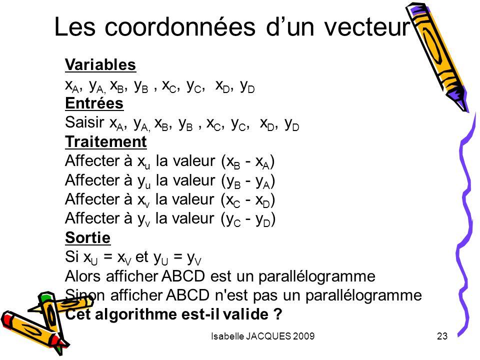 Isabelle JACQUES 200923 Les coordonnées dun vecteur Variables x A, y A, x B, y B, x C, y C, x D, y D Entrées Saisir x A, y A, x B, y B, x C, y C, x D,