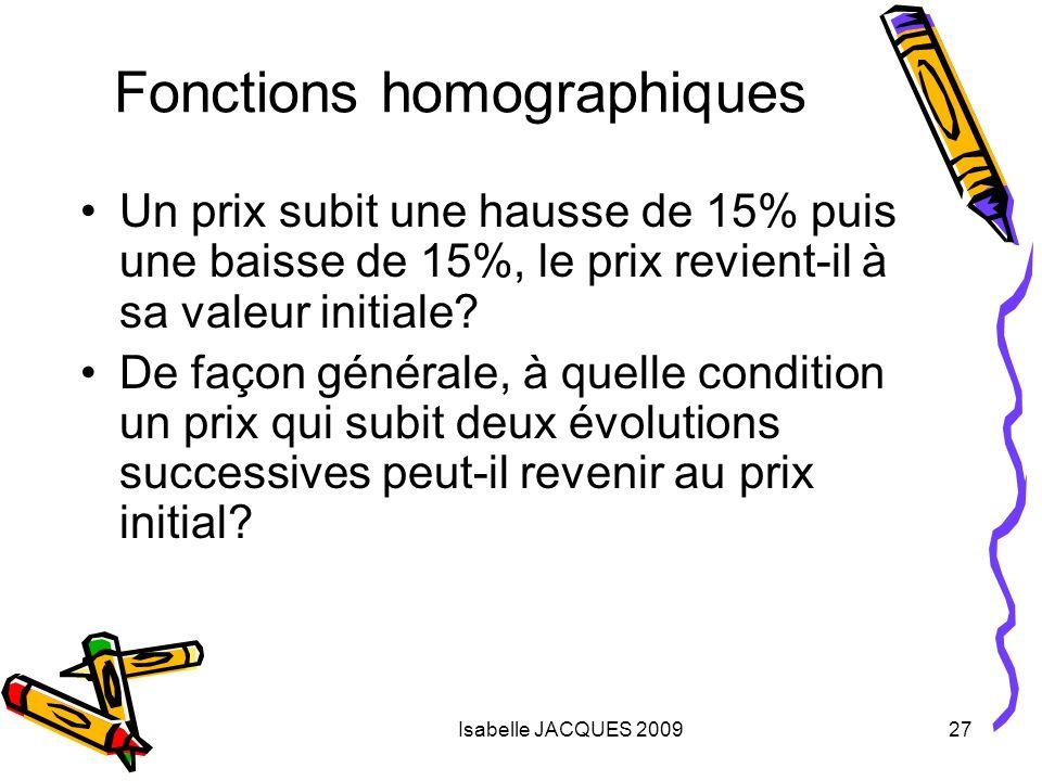 Isabelle JACQUES 200927 Fonctions homographiques Un prix subit une hausse de 15% puis une baisse de 15%, le prix revient-il à sa valeur initiale? De f