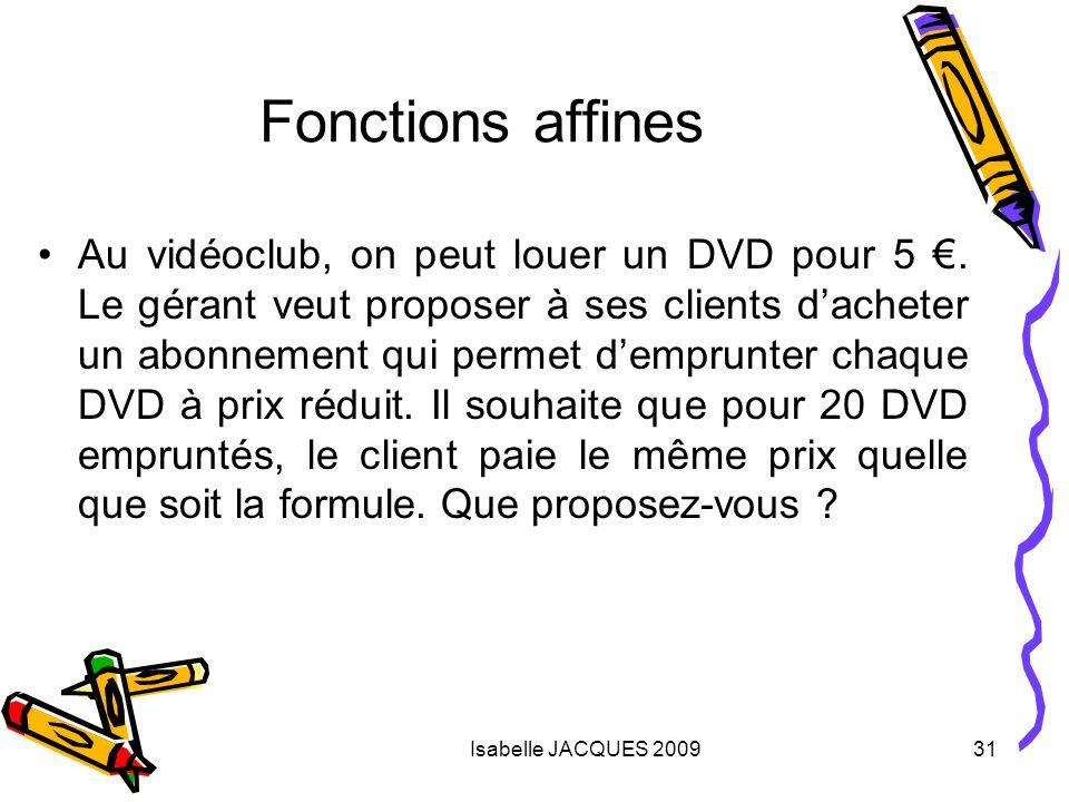 Isabelle JACQUES 200931 Fonctions affines Au vidéoclub, on peut louer un DVD pour 5. Le gérant veut proposer à ses clients dacheter un abonnement qui