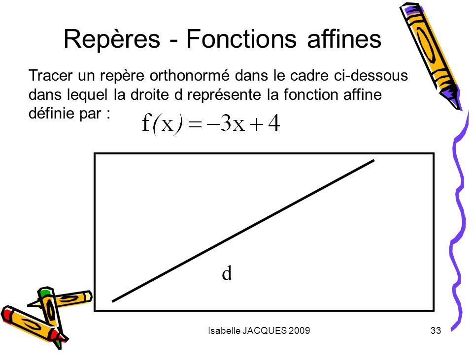 Isabelle JACQUES 200933 Repères - Fonctions affines d Tracer un repère orthonormé dans le cadre ci-dessous dans lequel la droite d représente la fonct