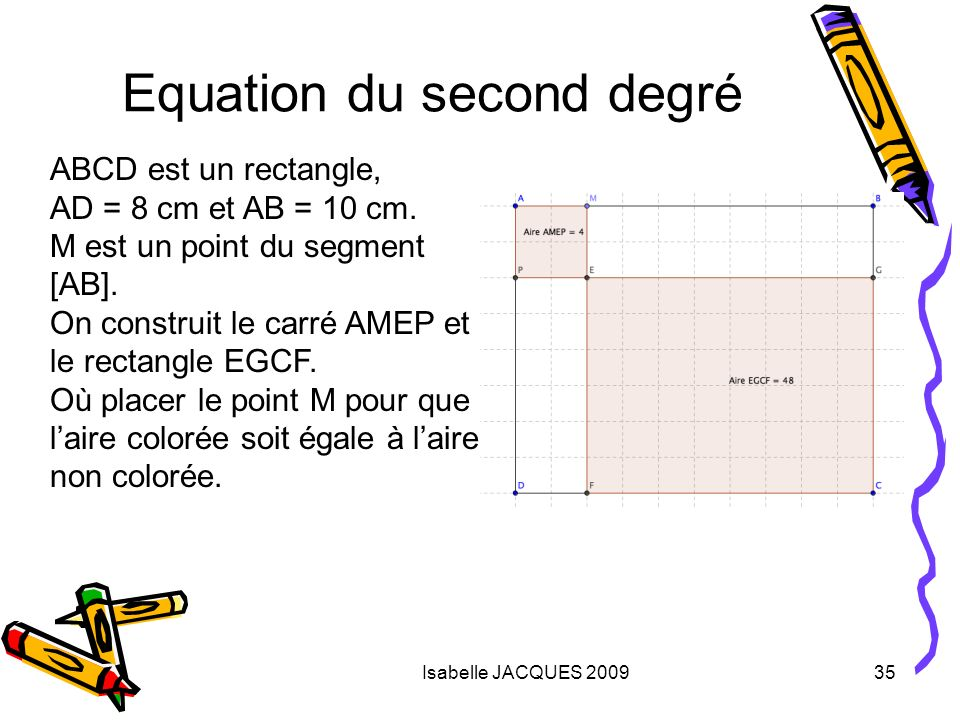Isabelle JACQUES 200935 Equation du second degré ABCD est un rectangle, AD = 8 cm et AB = 10 cm. M est un point du segment [AB]. On construit le carré