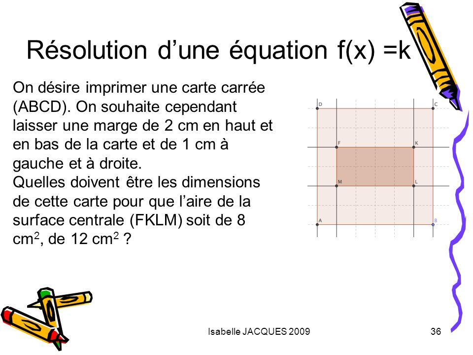 Isabelle JACQUES 200936 On désire imprimer une carte carrée (ABCD). On souhaite cependant laisser une marge de 2 cm en haut et en bas de la carte et d