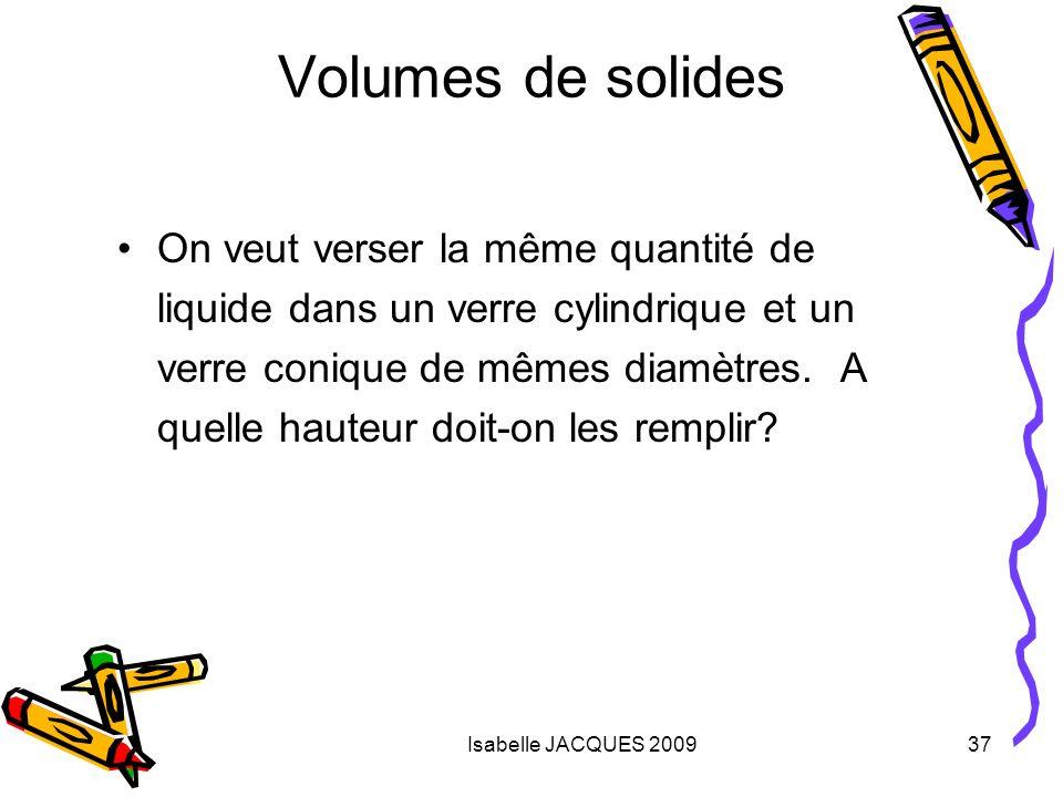 Isabelle JACQUES 200937 Volumes de solides On veut verser la même quantité de liquide dans un verre cylindrique et un verre conique de mêmes diamètres