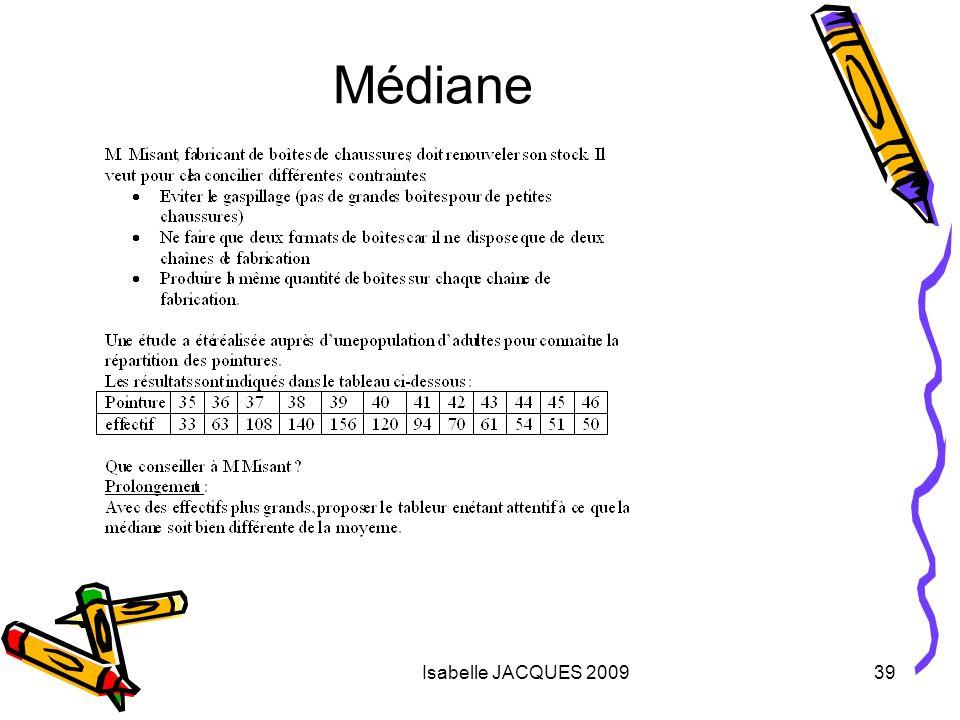 Isabelle JACQUES 200939 Médiane