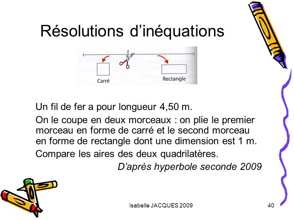 Isabelle JACQUES 200940 Résolutions dinéquations Un fil de fer a pour longueur 4,50 m. On le coupe en deux morceaux : on plie le premier morceau en fo