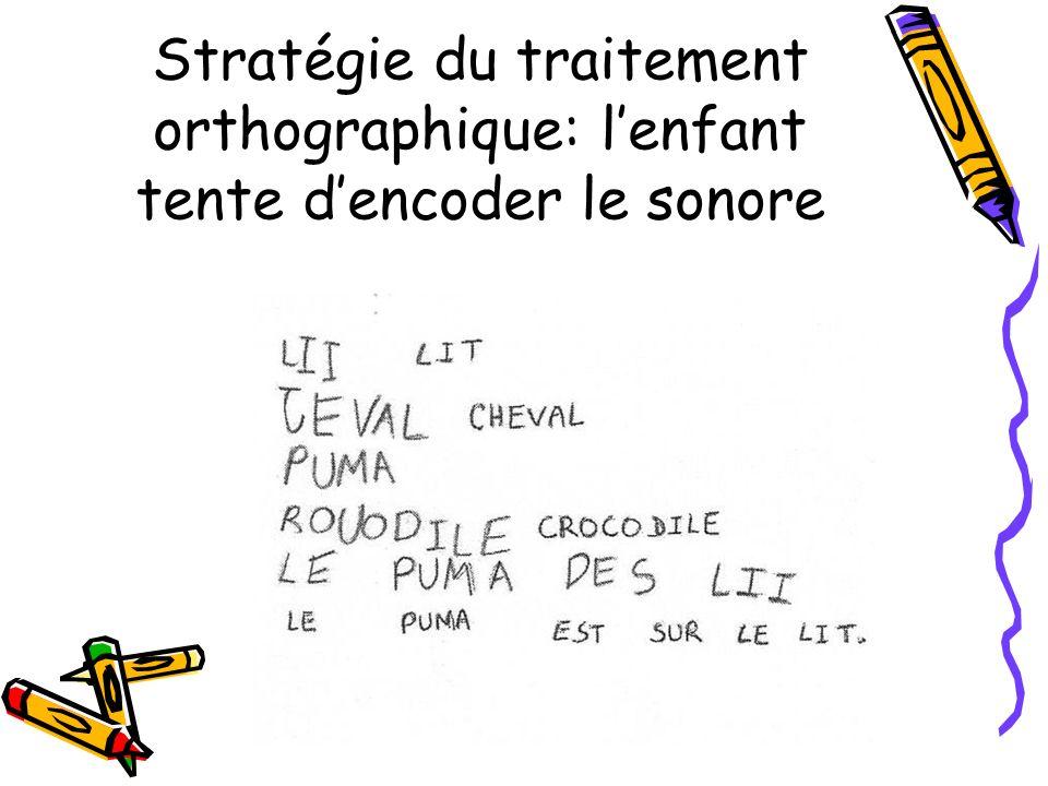 Stratégie du traitement orthographique: lenfant tente dencoder le sonore
