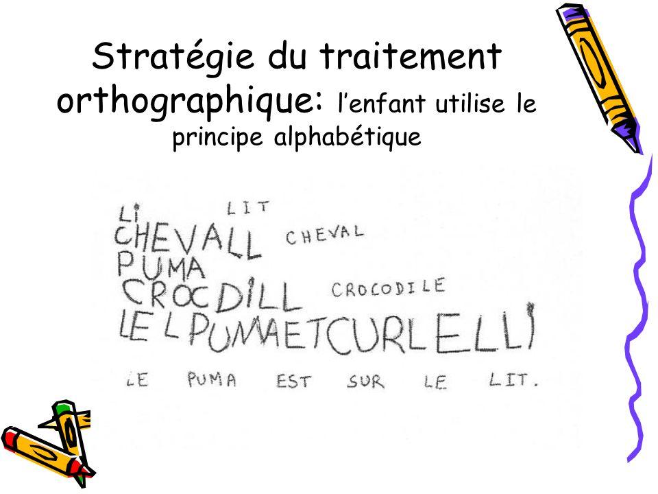 Stratégie du traitement orthographique: lenfant utilise le principe alphabétique