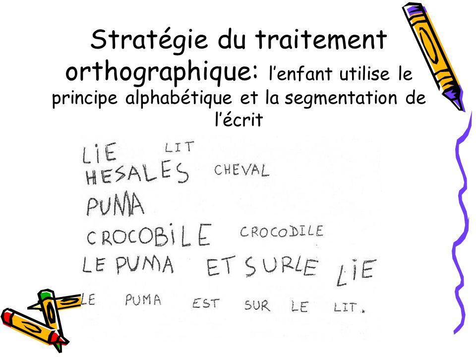 Stratégie du traitement orthographique: lenfant utilise le principe alphabétique et la segmentation de lécrit