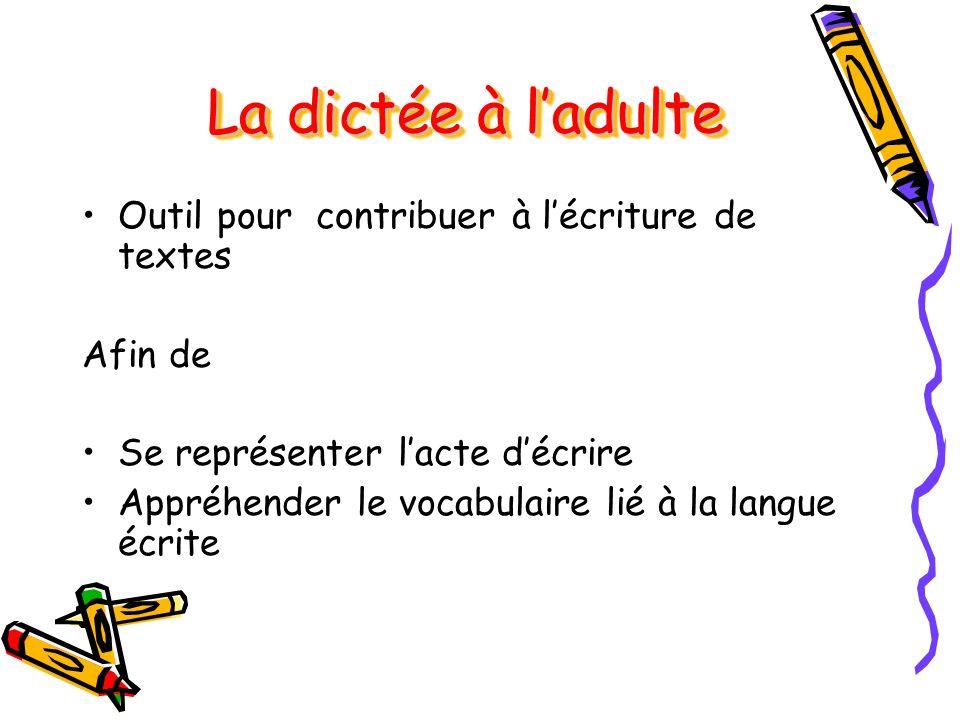 La dictée à ladulte Outil pour contribuer à lécriture de textes Afin de Se représenter lacte décrire Appréhender le vocabulaire lié à la langue écrite