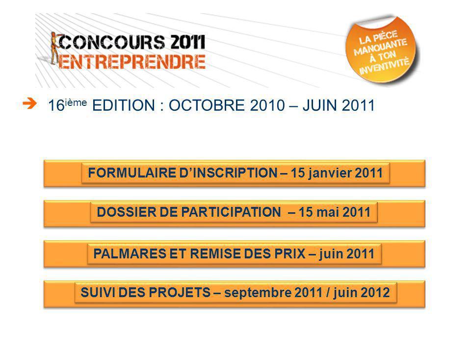 Via le site « concours-entreprendre.com » Retour du bulletin dinscription papier 21 octobre 2010 au 15 janvier 2011 PHASE DINSCRIPTION