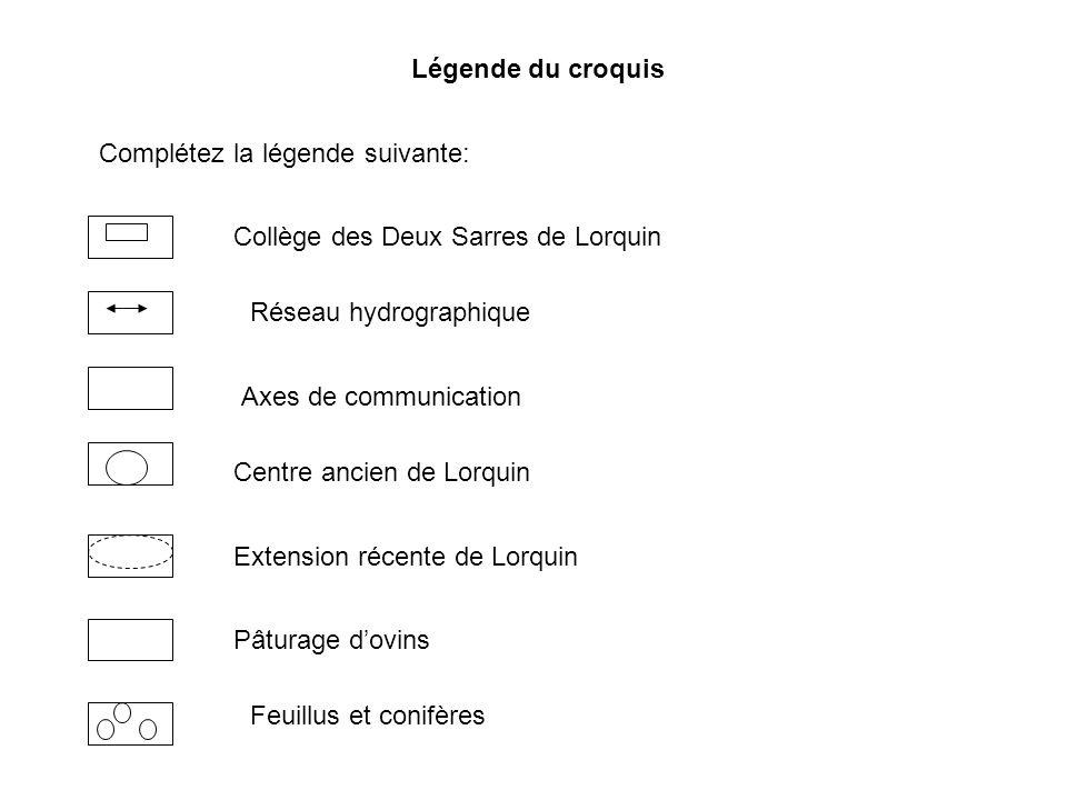 Légende du croquis Complétez la légende suivante: Collège des Deux Sarres de Lorquin Axes de communication Centre ancien de Lorquin Extension récente
