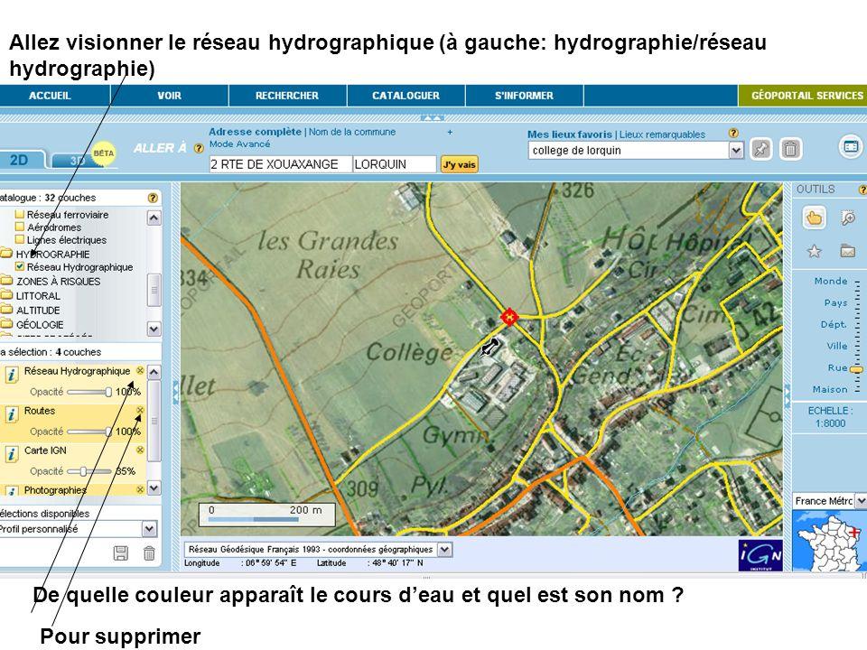 Allez visionner le réseau hydrographique (à gauche: hydrographie/réseau hydrographie) De quelle couleur apparaît le cours deau et quel est son nom ? P