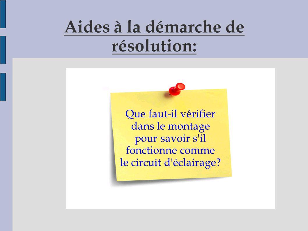 Aides à la démarche de résolution: Que faut-il vérifier dans le montage pour savoir s il fonctionne comme le circuit d éclairage?