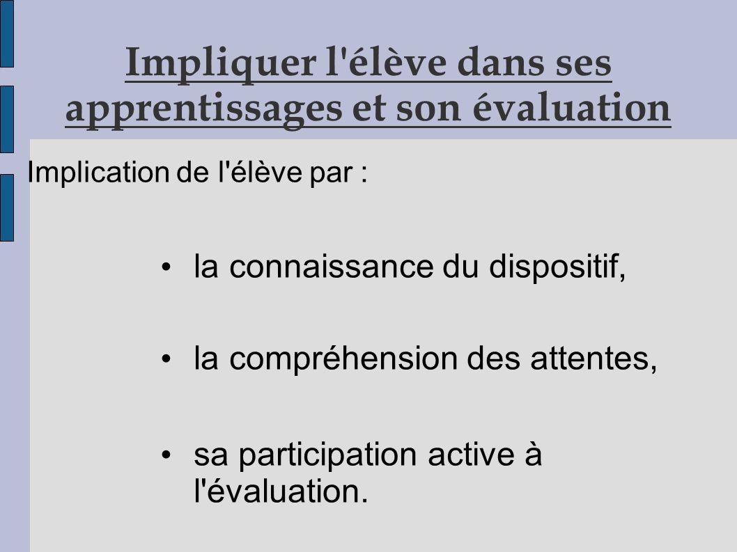 Impliquer l élève dans ses apprentissages et son évaluation Implication de l élève par : la connaissance du dispositif, la compréhension des attentes, sa participation active à l évaluation.