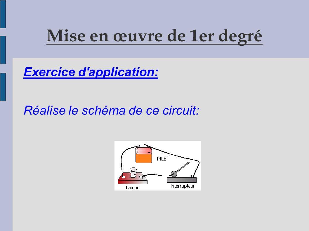 Critères de réussite ( Mise en œuvre 1er degré) - l élève a tracé à la règle et au crayon de papier un rectangle, - il a gommé et placé convenablement les symboles des différents dipôles du circuit.