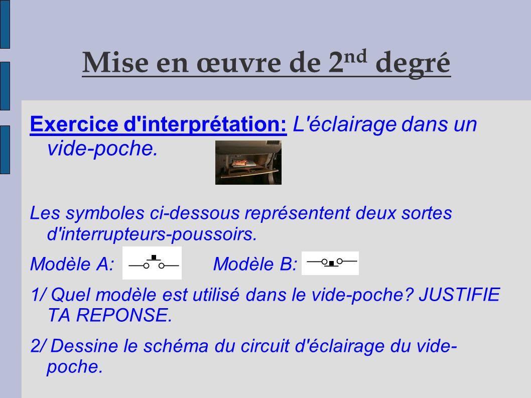 Mise en œuvre de 2 nd degré Exercice d interprétation: L éclairage dans un vide-poche.