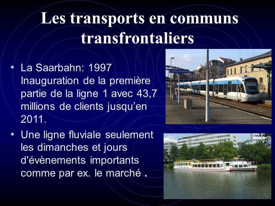Les transports en communs transfrontaliers La Saarbahn: 1997 Inauguration de la première partie de la ligne 1 avec 43,7 millions de clients jusquen 20