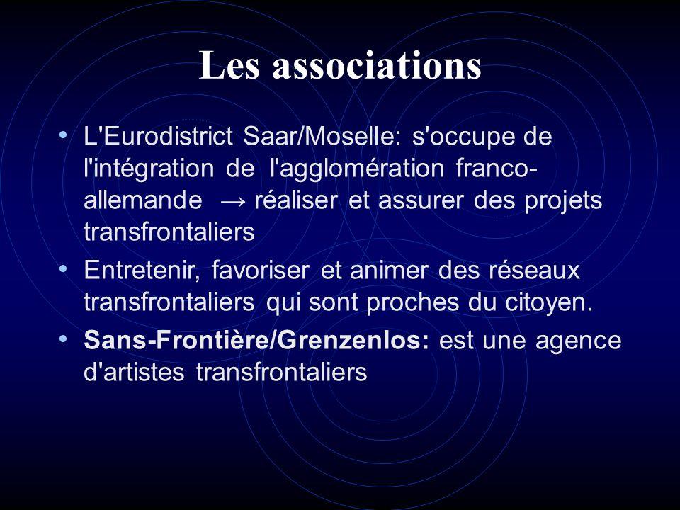 Les associations L'Eurodistrict Saar/Moselle: s'occupe de l'intégration de l'agglomération franco- allemande réaliser et assurer des projets transfron