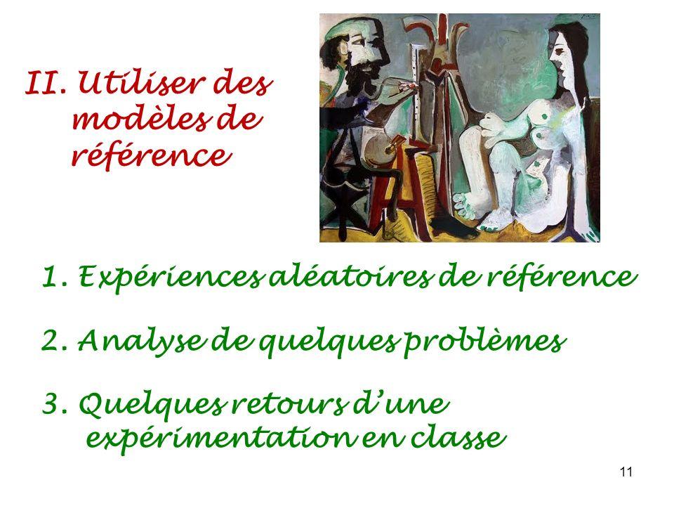 II. Utiliser des modèles de référence 11 1. Expériences aléatoires de référence 2. Analyse de quelques problèmes 3. Quelques retours dune expérimentat