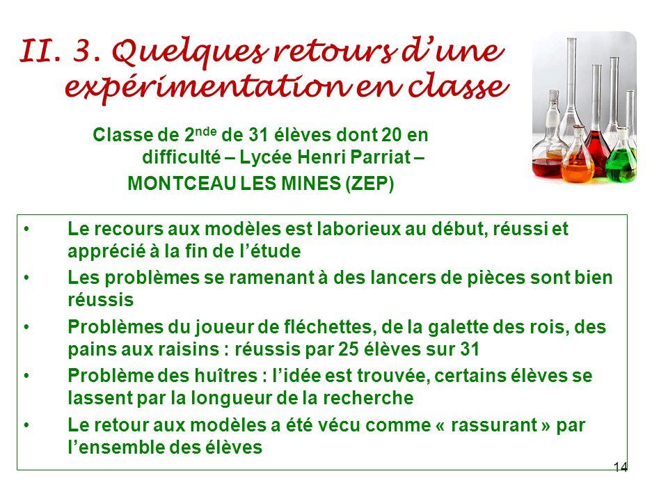 II. 3. Quelques retours dune expérimentation en classe 14 Classe de 2 nde de 31 élèves dont 20 en difficulté – Lycée Henri Parriat – MONTCEAU LES MINE