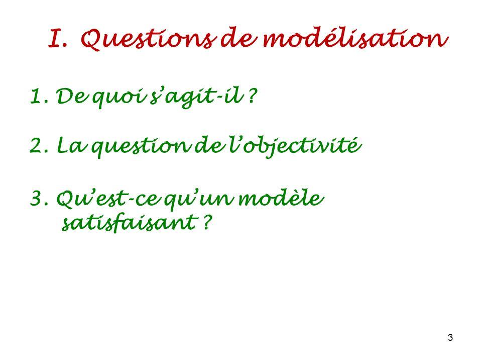 I.Questions de modélisation 3 1. De quoi sagit-il ? 2. La question de lobjectivité 3. Quest-ce quun modèle satisfaisant ?