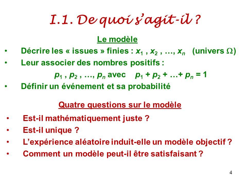 I.1. De quoi sagit-il ? 4 Décrire les « issues » finies : x 1, x 2, …, x n (univers ) Leur associer des nombres positifs : p 1, p 2, …, p n avec p 1 +
